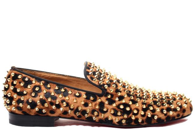 Christian Louboutin Rollerboy Spikes Flat Pony Leopard Luxor